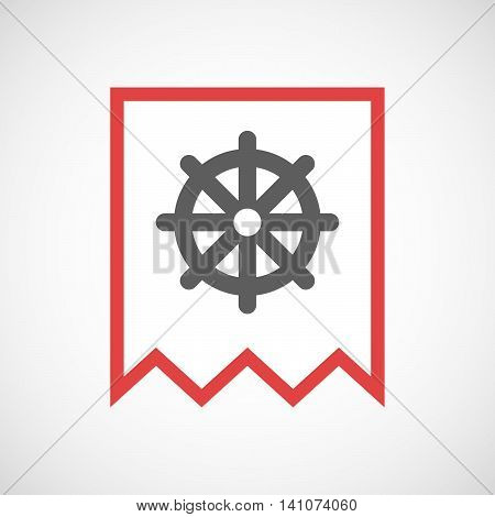 Isolated Line Art Ribbon Icon With A Dharma Chakra Sign