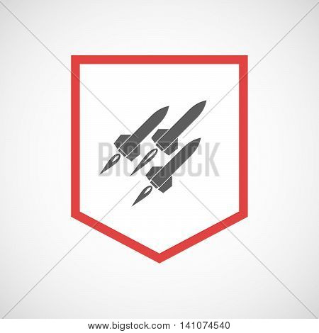 Isolated Line Art Ribbon Icon With Missiles