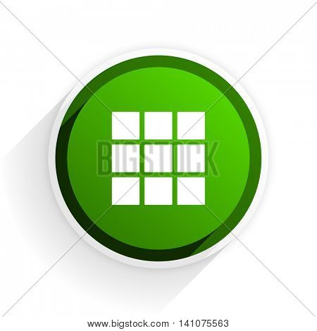 thumbnails grid flat icon with shadow on white background, green modern design web element
