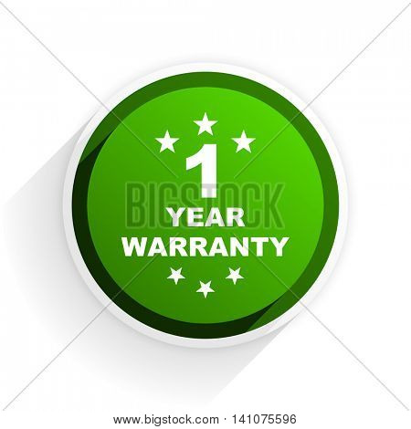 warranty guarantee 1 year flat icon with shadow on white background, green modern design web element