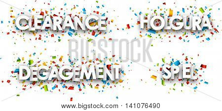 White clearance paper banners set, German, Spanish, French. Vector illustration.