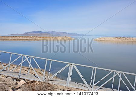 Pontoon by the harbour of Antelope Island, Utah