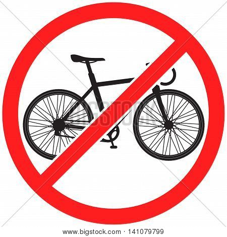 Prohibition sign icon No bike vector illustration with bicycle