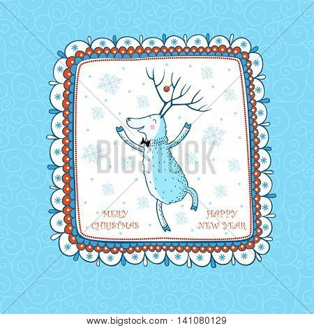 Cartoon Christmas background with the Dancing Deer. Greeting card Merry Christmas.