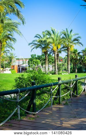 Tropical landscaping - lush tropical pathway with planting and palm trees lawn foliage shrubs grass bridge and fences. Summer park and gardens of large house or hotel.