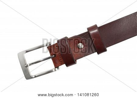 Old leather belt with metal clasp isolated on white background. Clipping path is included