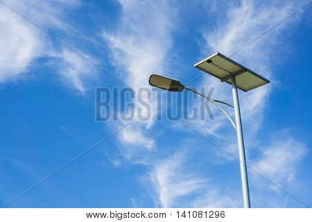 close up Solar Lighting on blue sky