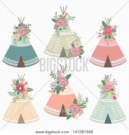 Floral Teepee Elements - Perfect for Tribal, Floral, Weeding, Valentine's, Mother's day and many more.