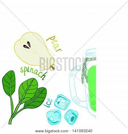 Recipe illustration smoothie (cocktail) with pear, spinach, ice. Vector hand drawn illustration for recipe books, magazines, cafe, restaurant menu, cards, flyers. Scandinavian style