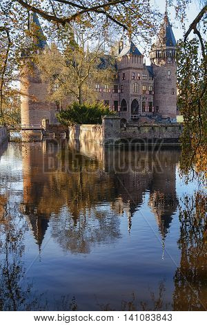 Castle De Haar with the park around in autumn colors.