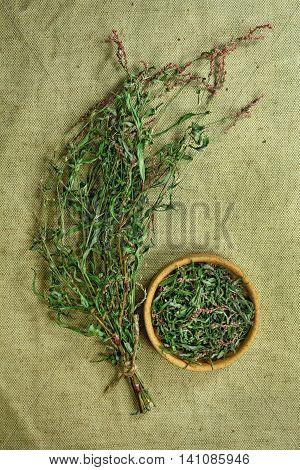 Persicaria hydropiper.Dried herbs for use in alternative medicine.Herbal medicine phytotherapy medicinal herbs.For preparation of infusions decoctions tinctures powders ointments tea.