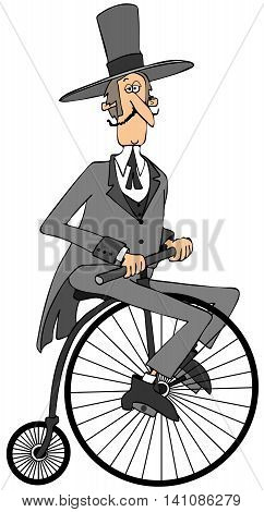 Illustration of a man wearing a long tailed suit and topcoat riding an old fashioned bicycle with a big front wheel.