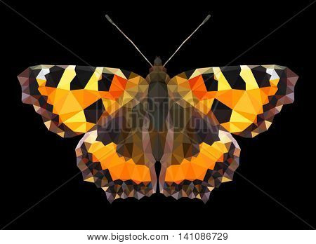 Low poly vector butterfly. Aglais Urticae. Mosaic pattern