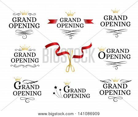 Grand opening badges collection with cut red ribbon and gold scissors