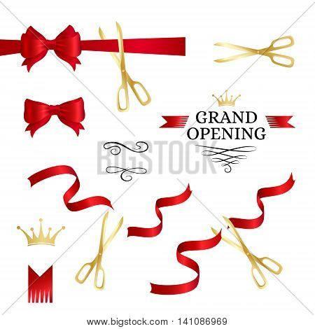 Grand opening decoration elements. Cut red ribbons bows and gold scissors