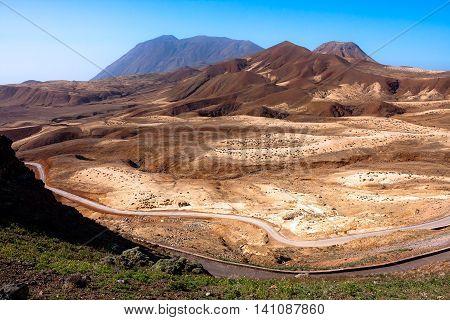 Martian like landscape of Topo da Coroa region. Mountains of Santo Antao Island