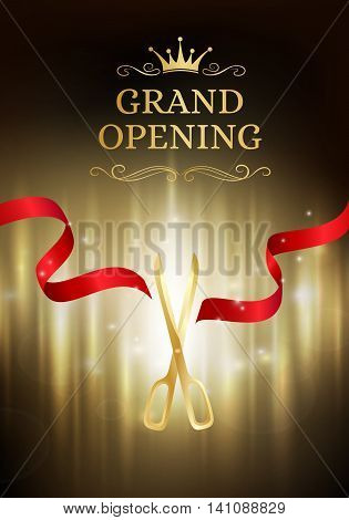 Grand opening banner with cut red ribbon and gold scissors. Dark vector background with light effect