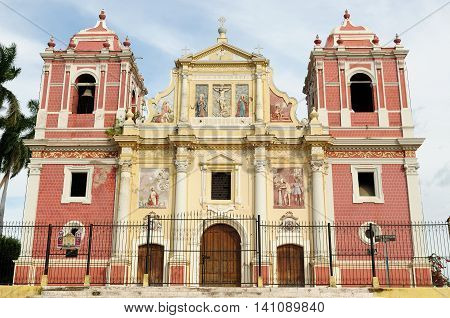 Central America Leon - the colonial Spanish city in Nicaragua has the larges cathedral in Central America and the colorful architecture. Iglesia El Calvario