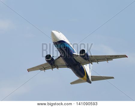 Moscow region - 31 July 2016: A passenger plane Boeing 737-33R Nordavia Regional Airlines flies to Domodedovo airport and the sky July 31 2016 Moscow Region Russia