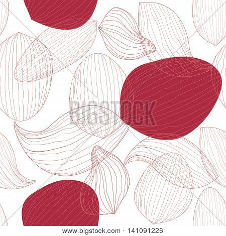 Delicate lotus flower petals on white background. Outline vector seamless pattern eps10 floral template