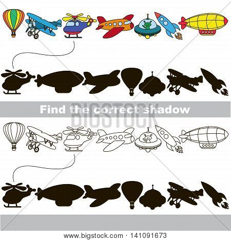 Flying transport set with shadows to find the correct one. Compare and connect objects and their true shadows. Easy educational kid gaming. Simple level of difficulty. Logic game for children.