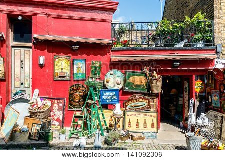 London UK - July 13 2016 - Antique shop at Portobello Road Market in Notting Hill