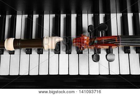 Flute and violin neck on piano keys, closeup
