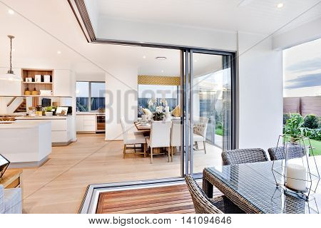 Modern Dining  Area And Patio Next To Kitchen