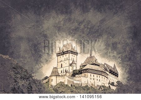 Karlstejn castle on green hill, Prague, Czech Republic. Vintage painting, background illustration, beautiful picture, travel texture