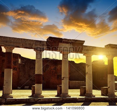 Ancient Roman city of Pompeii at sunset, Italy.
