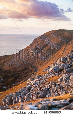 Summit of Great Orme at Susnet in Welsh Coastal Town - Llandudno UK poster