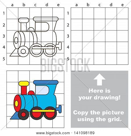 Copy the picture using grid lines. Easy educational game for kids. Simple kid drawing game with Blue Locomotive.