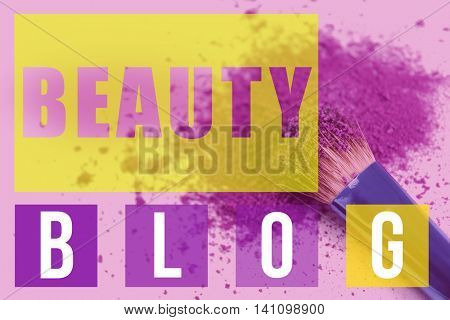 Makeup brush with cosmetic powder on purple background. Beauty blog concept