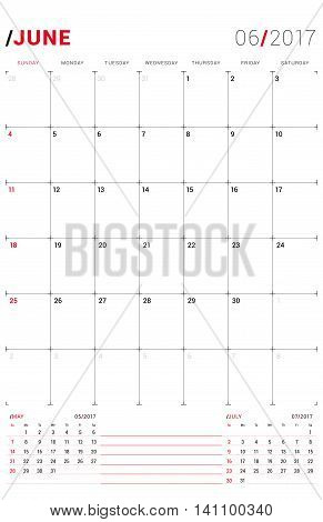 June 2017. Vector Print Template. Monthly Calendar Planner For 2017 Year. Week Starts Sunday. 3 Mont
