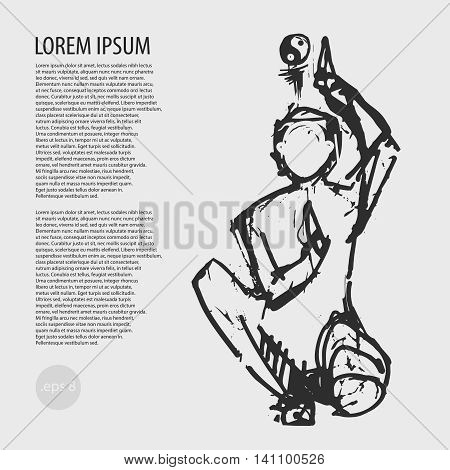 vector illustration, yoga, yin yang, posture, asana, article, balance, balance sheet sketch drawing picture for the article
