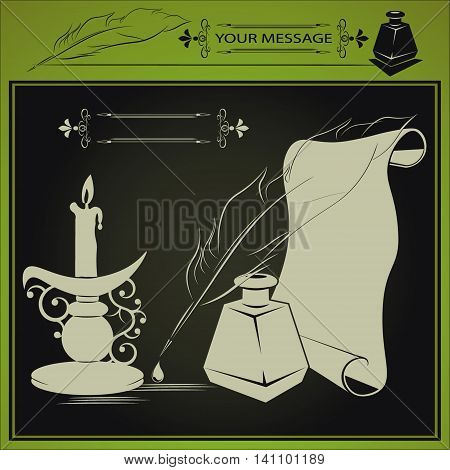 vector illustration with inkstand, pen and paper, candle is drawn in a retro style
