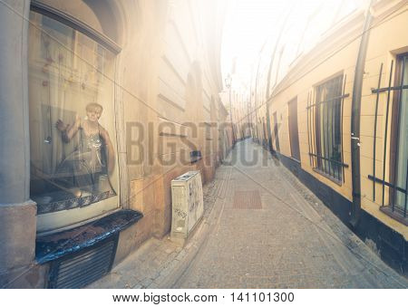 Old and narrow town street in Gamla stan Stockholm Sweden Scandinavia Europe
