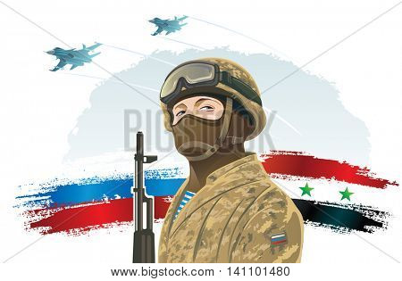 Russian special forces soldier and kalashnikov on the background of the Russian and Syria flag, and the russian military fighters.