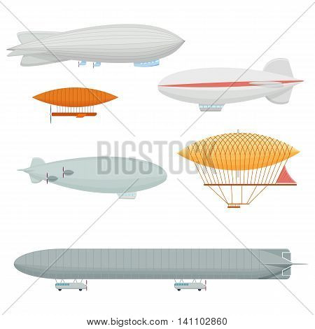 Dirigible set vector illustration isolated on a white background