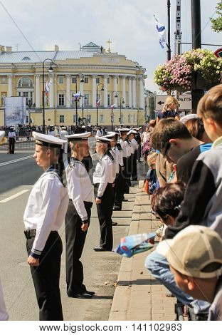 St. Petersburg, Russia - 31 July, The line of sailors in the cordon, 31 July, 2016. Military sailors on parade in honor of the Navy.