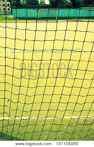 Empty Gate. Outdoor Football Or Handball Playground,