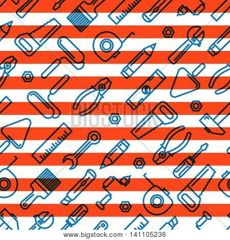 Different industrial equipment. Vector tools pattern. Happy Labor Day concept