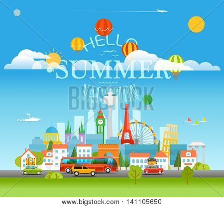 Vacation travelling concept with logo. Hello summer vacation