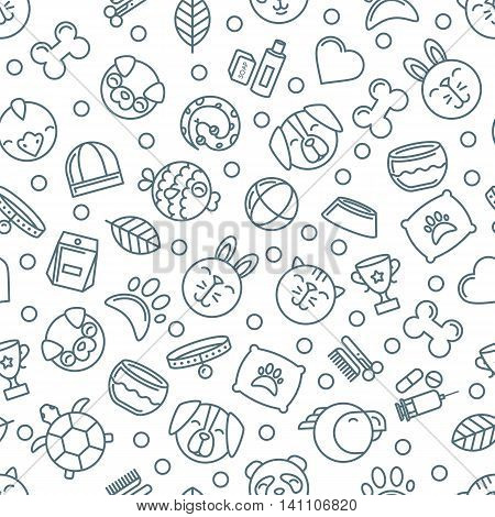 Vector Seamless Pattern With Outline Pets Icons. Goods For Animals.