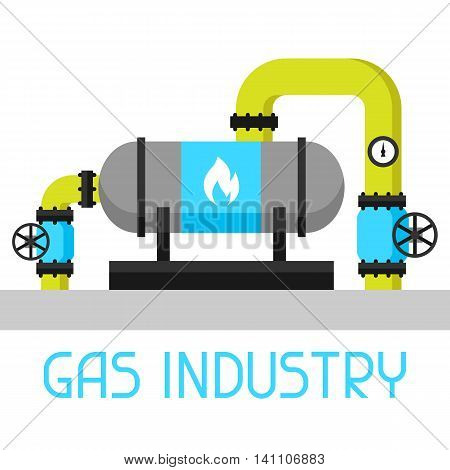 Gas heat exchanger in refinery. Industrial illustration in flat style.