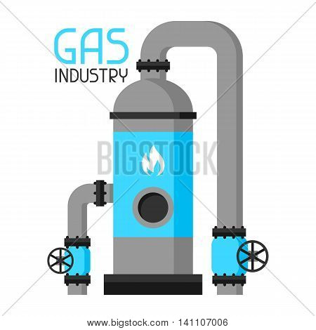 Injection and storage of gas. Industrial illustration in flat style.