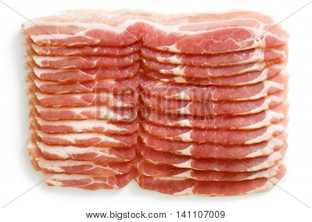 Many Strips Of Streaky Uncooked Bacon Isolated On White From Above.