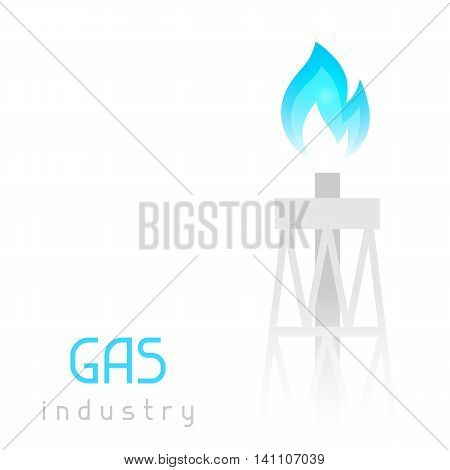 Gas rig drilling equipment with flame. Industrial illustration.