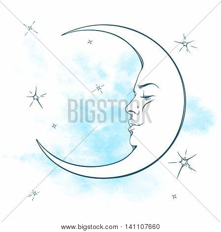 Blue crescent moon and stars vector illustration. Hand drawn tattoo design astrology alchemy magic symbol isolated over abstract watercolor background