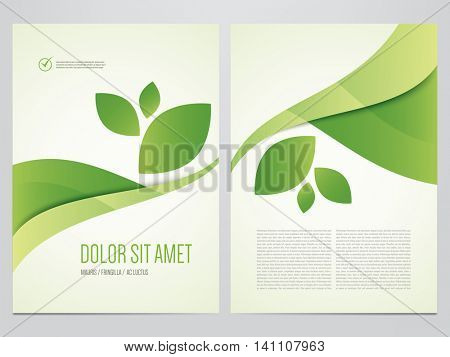 Green eco brochure, magazine cover, flyer, poster template. Modern vector leaf, environment design.